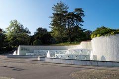 Springbrunn av Le Musee Olympique eller olympiskt museum Arkivfoton