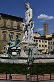 Springbrunn av Neptun, Florence, Italien Arkivfoton