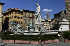 Springbrunn av Neptun, Florence, Italien Arkivbild