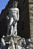Springbrunn av Neptun, Florence, Italien Arkivfoto