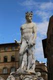 Springbrunn av Neptun i Florence i piazzadellaen Signoria Arkivbilder
