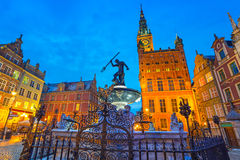 Springbrunn av Neptun i gammal stad av Gdansk Arkivbild