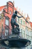 Springbrunn av Neptun i Gdańsk Arkivfoton