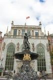 Springbrunn av Neptun i Gdansk, Polen Fotografering för Bildbyråer