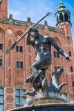 Springbrunn av Neptun i Gdansk, Polen Arkivbild