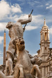 Springbrunn av Neptun i piazza Navona, Rome, Italien Royaltyfria Foton