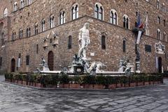 Springbrunn av Neptun i piazzadellaen Signoria Royaltyfri Foto