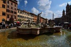 Springbrunn av Neptun. Piazza Navona, Roma, Italien Royaltyfri Bild