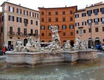 Springbrunn av Neptun, Rome Arkivfoton