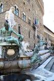 Springbrunn av Neptune, Florence, Italien Royaltyfria Bilder