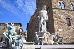 Springbrunn av Neptune, Florence (Italien) Arkivbilder