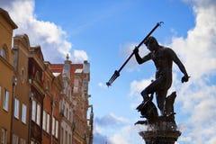 Springbrunn av Neptunen i gammal town av Gdansk Royaltyfri Fotografi