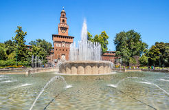 Springbrunn av piazza Castello Royaltyfri Fotografi
