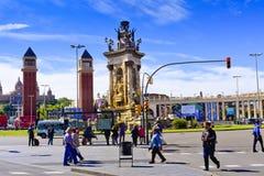 springbrunn barcelona catalonia spain Royaltyfri Bild