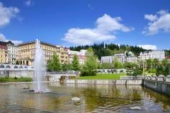 Springbrunn brunnsort Marianske Lazne, Tjeckien Royaltyfria Bilder
