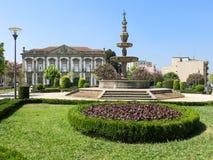 Springbrunn Campo das Hortas i Braga, Portugal Arkivfoto