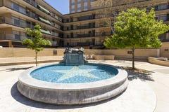 Springbrunn för Fort Worth panterstad Texas USA Arkivfoto