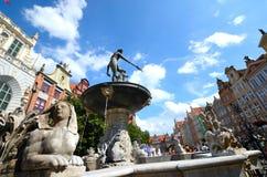 Springbrunn för Neptun` s, Gdansk Arkivbilder