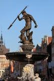 springbrunn gdansk neptune Royaltyfri Fotografi