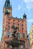 springbrunn gdansk neptune poland Fotografering för Bildbyråer