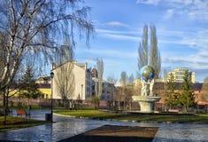 Springbrunn` Herren av världen ska arbeta ` i staden av Kazan i Tatarstan royaltyfria foton
