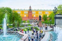Springbrunn i Alexander Garden Arkivfoton