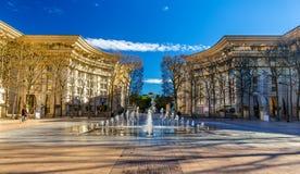 Springbrunn i Antigoneområde av Montpellier Fotografering för Bildbyråer