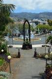 Springbrunn i den Funchal fyrkanten arkivfoto