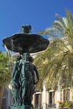 Springbrunn i den fyrkantiga Reilaen (Barcelona) Royaltyfri Foto
