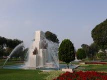 Springbrunn i den magiska vattenströmkretsen i Lima Royaltyfri Fotografi
