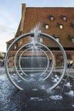 Springbrunn i Gdansk poland Arkivfoto