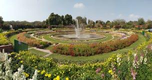 Springbrunn i mitt av en trädgård royaltyfri bild