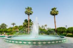 Springbrunn i Parcen Lalla Hasna i mitten av Marrakech Royaltyfria Bilder
