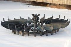 Springbrunn i parkera i vintern Arkivfoton