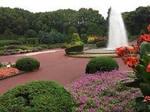 Springbrunn i parkera i sommartid royaltyfria foton
