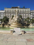 Springbrunn i Toulone Arkivfoto