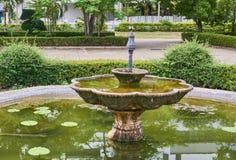 Springbrunn i trädgård Arkivbild