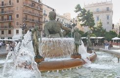 Springbrunn i Valencia, Spanien Arkivbilder