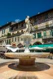 Springbrunn Madonna på piazzadelle Erbe i Verona Fotografering för Bildbyråer