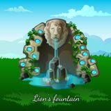 Springbrunn med ett lejonhuvud på naturbakgrund Royaltyfri Foto