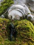 Springbrunn med skulptur i en offentlig trädgård nära mossa Royaltyfria Bilder