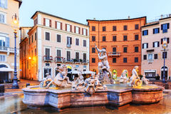 springbrunn neptune italy rome royaltyfri fotografi