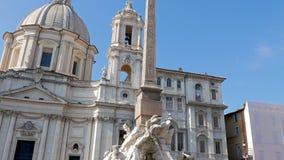springbrunn neptune Piazza Navona, Rome, Italien - arkivfilmer