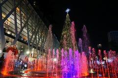 Springbrunn och julgran Arkivfoton