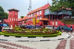 Springbrunn och Kristus som är kyrkliga nära vid holländarefyrkanten i Malacca, staden för världsarv, Malaysia Arkivfoton