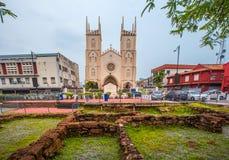 Springbrunn och Kristus som är kyrkliga nära vid holländarefyrkanten i Malacca, staden för världsarv, Malaysia Fotografering för Bildbyråer