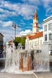 Springbrunn och kyrka, gammal stad Vilnius, Litauen fotografering för bildbyråer
