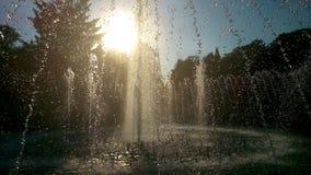 Springbrunn och Sun Arkivfoton