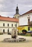 Springbrunn på fyrkant av Maj 3 i Nowy Sacz poland Arkivfoton