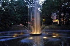 Springbrunn på natten Fotografering för Bildbyråer